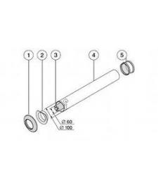 Концевая труба, ∅60/100мм, длинна 1м / T3D-1000